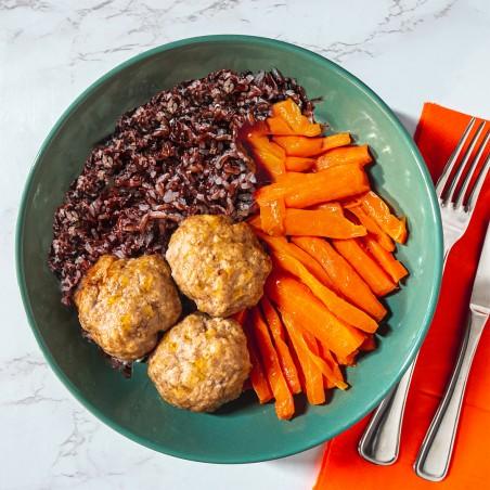 Polpette di vitella al limone con riso venere e carote